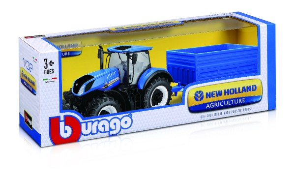 Traktor Bburago New Holland s vlekem